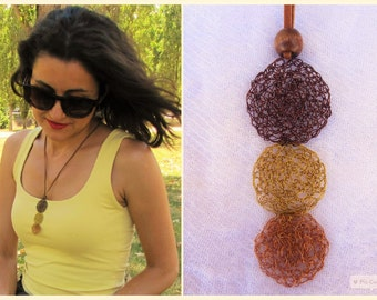 Handmade crocheted copper wire necklace. Wire necklace.