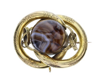 Victorian Antique Hardstone Knot Brooch