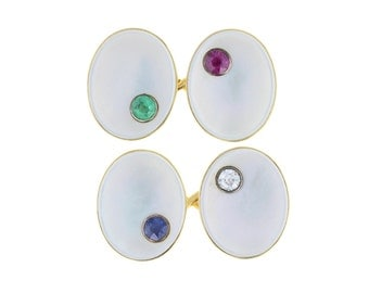 Antique Mother-of-Pearl Gemset Cufflinks