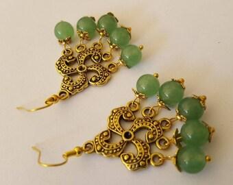 Earrings Aventurine pendant Aventurine earrings chandelier gold plated