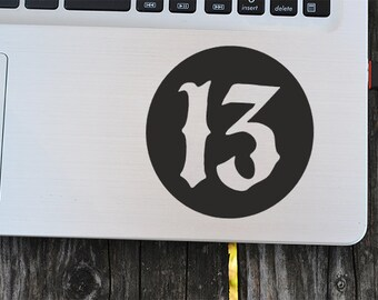 Lucky Number 13 Vinyl Decal , laptop decal, vinyl decals, macbook decal, wall sticker, car decal