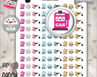 50%OFF - Gas Stickers, Gas Pump Stickers, Gas Icons, Printable Planner Stickers, Stickers, Planner Accessories, Cute Stickers