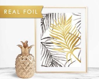 Tropical Leaf Foil Art Print Palm Tree Beach House 11x14, 8x10, 5x7