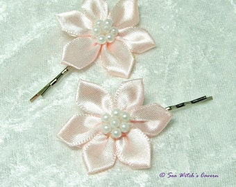 Floral Hair clips with Peach Satin Ribbon Flowers | Decorative Bobby Pins for Short Hair | Bridal Hair Pins | A0371