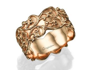 Rose Gold Wedding Ring, Unique Wedding Band, Bridal Ring, Vintage wedding ring, Antique wedding ring, Art Deco Ring, Royal Ring