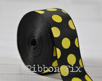 "7/8"" Black with Yellow Polka Dot Grosgrain Ribbon - Bee Ribbons - Craft Dots - Wedding Bows - Baby Shower - Home Decor - Dog Collar Leash"