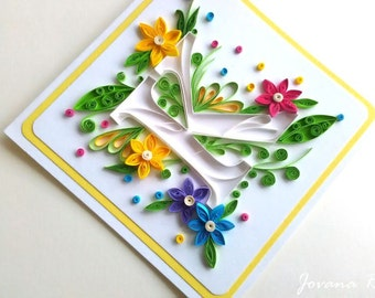 Personalised Letter Birthday card/ Quilling letter/ Quilling card/ Personalised card/ Personalised  quilling card/ Monogram card/ Custom