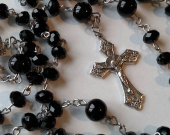 Black Crystal Rosary with Black Onyx Our Father Beads