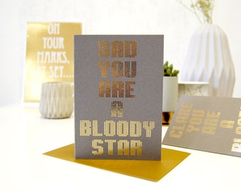 Fathers Day Card Grey Metallic Star Dad