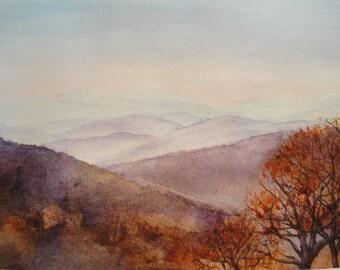 Shenadoah Sunrise Watercolor Giclee Print, Autumn Morning, Blue Ridge Mountains in the background