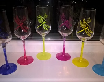 6 Dragonfly Champagne Glasses