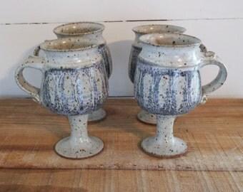 set of 4 studio pottery goblet mugs