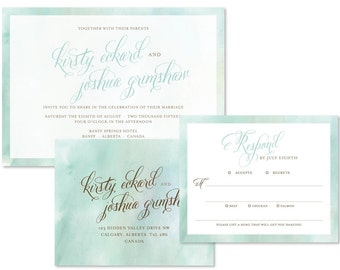 Watercolour Wedding Invitation Set (priced per 25)