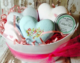 Bath Bomb and Lip Balm Gift Wrapped Basket Pretty in Pink Christmas Gift Valentines Day For Her