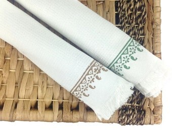 Turkish Beach Towel, Block Printed Cotton Towel, Fouta Towel, Unique Hostess Gift