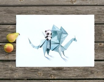 Knight Panda - Nursery Art - Panda Illustration - Kids Poster - Watercolor Decor