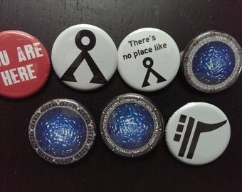 "Stargate buttons 1.25"" / 32mm pin back badges [Symbols collection] SG1, SGA, SGU, Earth gate, Pegasus galaxy, Earth symbol, ninth chevron"