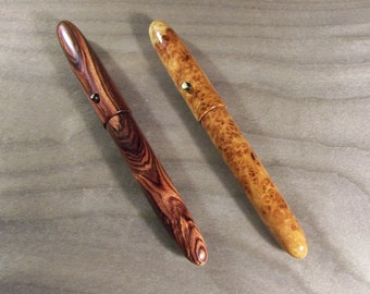 Wooden fountain pen (or rollerball) in kingwood or amboyna burl