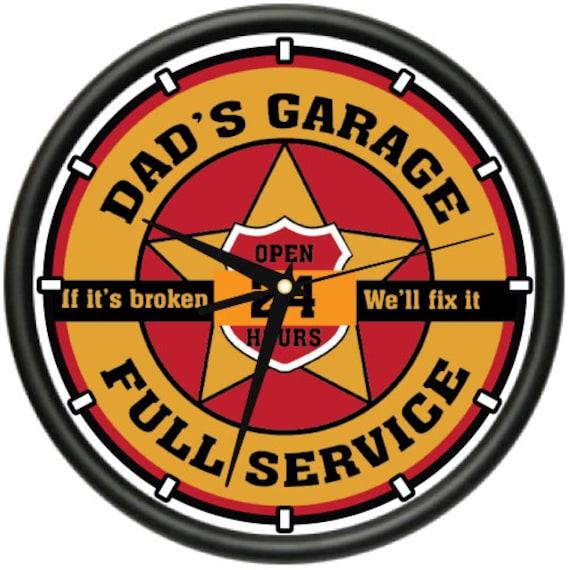 Dad 39 s garage wall clock man room car mechanic auto repair for Garage fix auto nimes