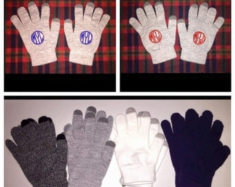 Embroidered Monogrammed Gloves - Touch Screen Compatible!