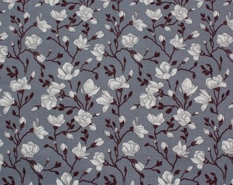 Grey Floral Fabric - 100% Cotton - Rose and Hubble - Quilting - Clothing - Sewing Projects - UK Seller