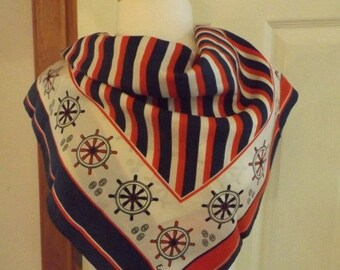 On Sale Echo Nautical Red White Blue Signed Scarf, Designer Scarf, Accessory, Vintage