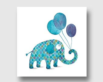 greeting card, art card, elephant balls, reproduction of art, watercolor giclee on art paper