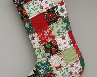 Quilted Christmas Stocking - Traditional Colors