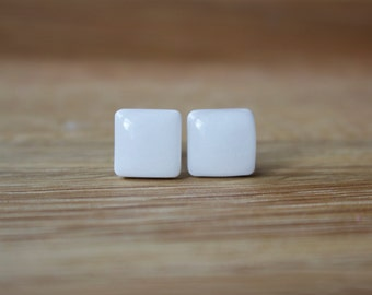 White Stud Earrings. BRIGHT WHITE SQUARE Studs. white earrings. white studs. Surgical Steel Posts.
