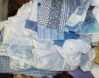 Light blue fabric scraps