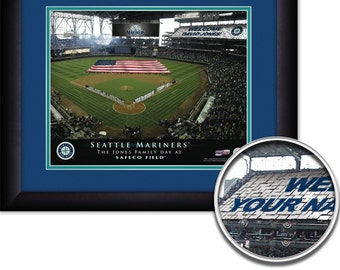 """Seattle Mariners MLB Baseball Personalized Card Stunt with American Flag 15""""x18"""" Framed Art Print  Free Shipping"""
