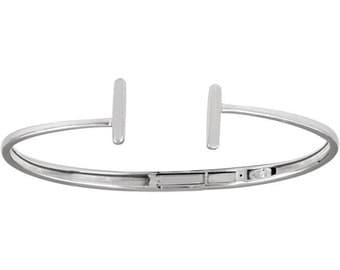 "14kt White Gold Hinged Cuff Bar Bracelet 7"""