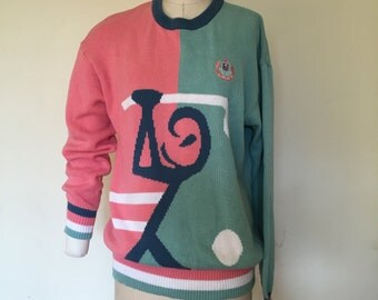 Vintage 80s Intarsia hand knit Golfer women Sweater, size Large