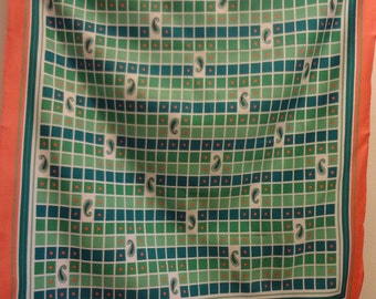 Scarf Italian Geometric 80's with Green and Cantaloupe Orange Pattern