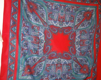 Scarf Red Paisley:  Italian Polyester from the 70's