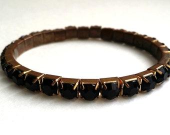 Vintage Copper Tone Black Rhinestone Expandible Bracelet
