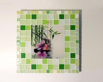 """ON SALE Mosaic wall clock """"Green bamboo"""" - Mosaic clock  - Bamboo wall clock - Bamboo wall decor - Mosaic art - Green wall clock"""
