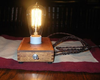 Upcycled Cigar Box Lamp w/Edison Bulb