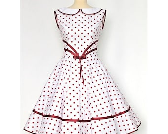 Petticoat dress dress 50's rockabilly white red