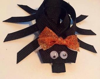 Spider hair bow - black spider bow - spider bow - hair bows - sculpted ribbon - halloween bow - halloween hair bow - halloween spider bow