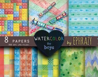 Watercolor paper. Watercolor. Watercolor digital. Watercolor digital paper. Lego background. Lego digital paper.Boy paper.