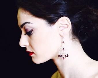 Garnet earrings,Handmade earrings,Silver earrings,Chandelier earrings,Garnet Chandelier earrings,Lever Back Hook Closures earrings
