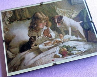Framed Vintage Postcard. Potrait of a Young Girl Praying with her Pets. ROP0124