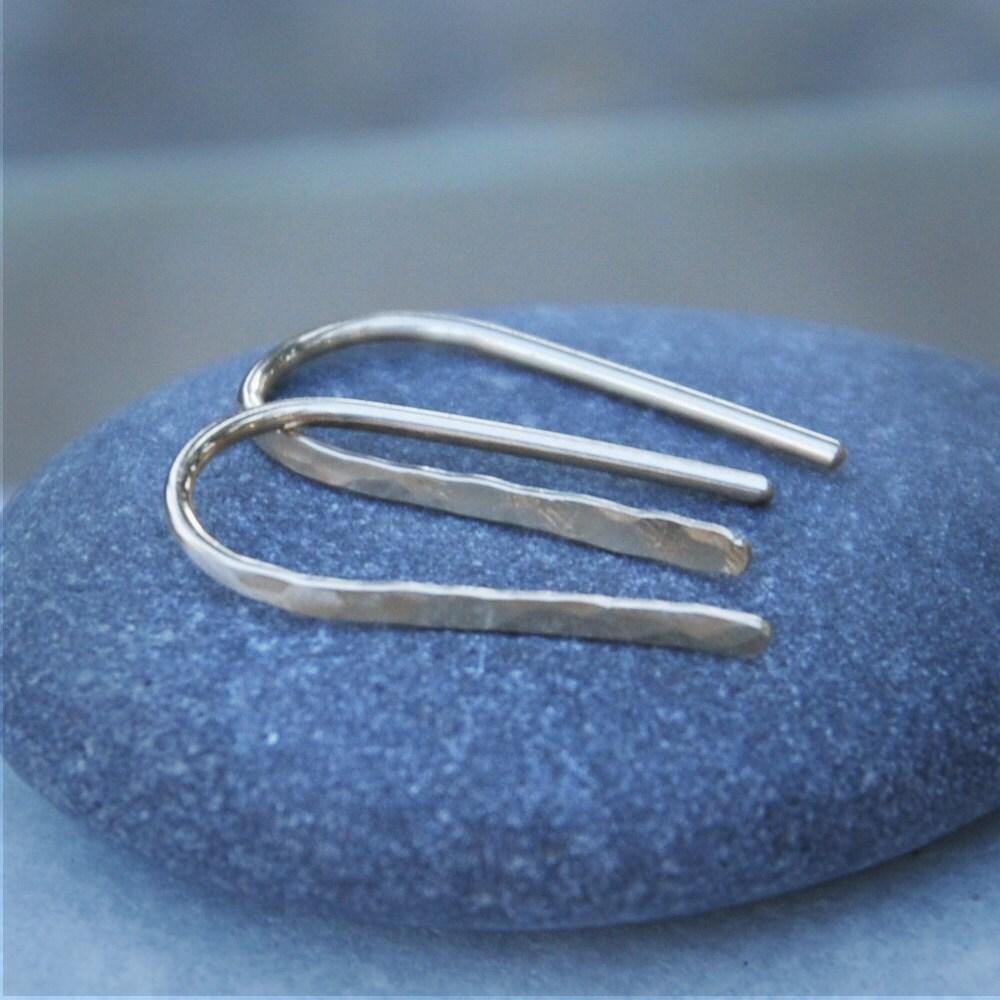 Open Hoop Earrings Simple Silver Hoops Hammered Delicate