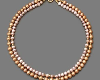 Pink and Gold Cultured Pearl Necklace