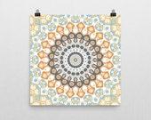 Mandala Poster. Orange and Blue Medallion Art. Poster Prints. Kaleidoscope Print. Gypsy Wall Art. Yoga Wall Art. Bohemian Style Art