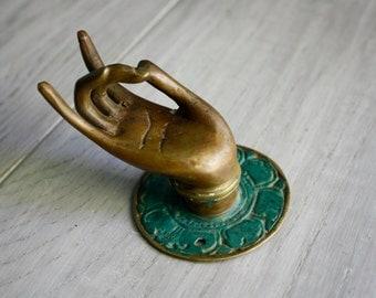Brass Buddha Abhaya Mudra - Thumb to Middle Finger - Vintage Balinese