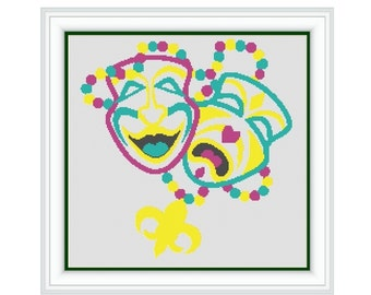 "Cross stitch pattern ""Mardi Gras"",Instant download PDF"