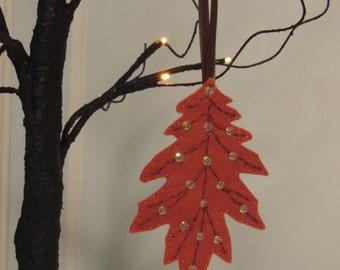 Orange Autumn Oak Leaf Ornament