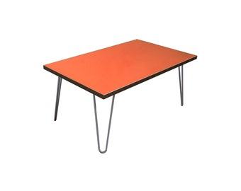 Orange contemporary Coffee Table with Steel Hairpin legs